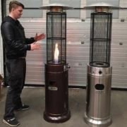 Flame gas patio heater for outdoor